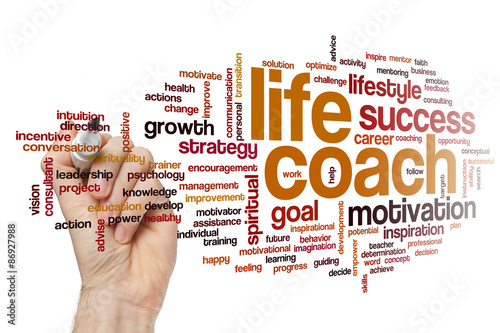 Life coach word cloud Photo by ibreakstock
