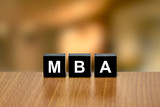 MBA or Master of Business Administration on black block poster