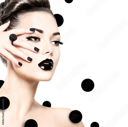 Beauty model girl with black make up and long lushes © Subbotina Anna