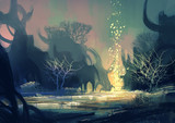 Fototapety painting of fantasy landscape with a mysterious trees
