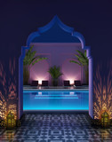 Moroccan riad courtyard with a swimming pool poster