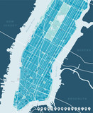 New York Map - Lower and Mid Manhattan. Highly detailed vector map including all streets, parks, names of subdistricts, points of interests, labels, neighborhoods.
