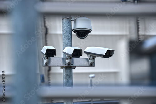 Poster High tech overhead security camera system in guarded area