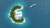 Paradis fiscal, financier ou évasion des fortunes sur un île en forme d'euro. - 86957705