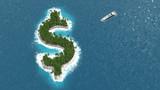 Paradis fiscal, financier ou évasion des fortunes sur un île en forme de dollar. - 86957734