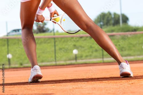 Plakát Nohy ženského tenisu player.Close up obraz.