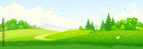 Tuinposter Lime groen Green landscape banner