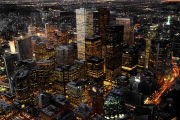 Widok z lotu ptaka z Toronto, Kanada w nocy