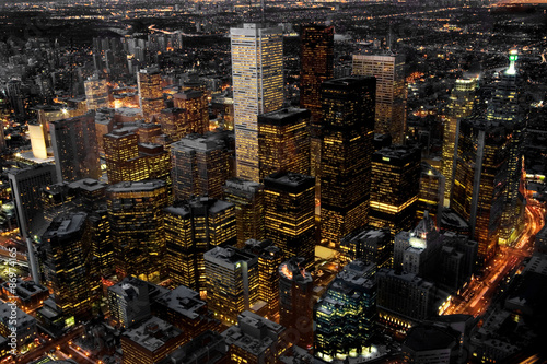 An aerial view of Toronto, Canada at night Poster