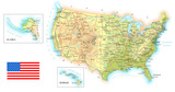 USA detailed topographic map illustration. Map contains topographic contours, country and land names, cities, water objects, flag, roads.