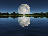 Fototapety Moonrise over Lake