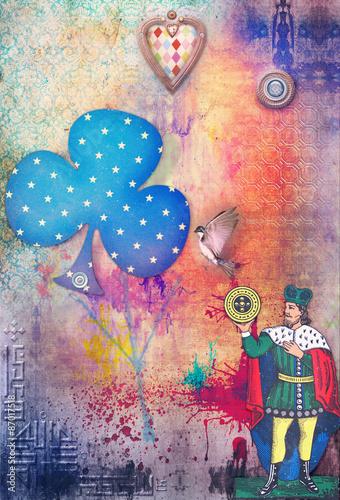 Fond Collage avec des séries de symboles alchimiques Poster