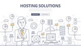 Hosting Solutions Doodle Concept
