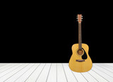 Fotoroleta guitar with white wood floor