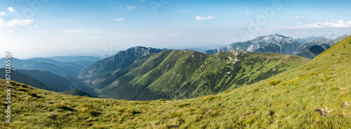 Panorama of amazing summer mountains under blue sky