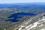View from Gaustatoppen mountain at sunny summer day