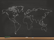 Realistic Chalkboard World Map Vector Illustration