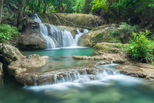 Beautiful Waterfall in Kanchanaburi (Huay Mae Kamin), Thailand