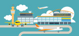 Fototapety Plane and Airport Flat Design Illustration Icons Objects
