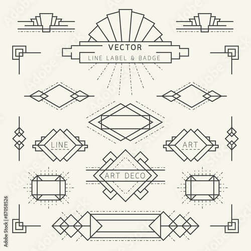 Art Deco Style Line and Geometric Labels and Badges Monochrome