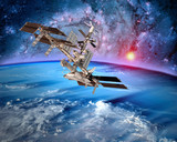 Earth satellite space station spaceship orbit sci fi landscape. Elements of this image furnished by NASA.