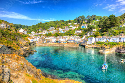 Poster Polperro harbour Cornwall England clear blue and turquoise sea HDR