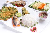 Fototapeta fried mackerel with shrimp paste sauce (nam prik kapi pla too)