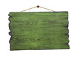 Grunge green wood signboard hanging on nail