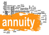 Annuity word cloud with orange banner poster