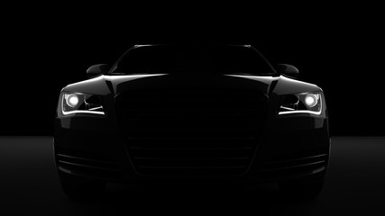 Wygenerowane komputerowo obraz samochodu sportowego, konfigurację studio, na ciemnym tle.