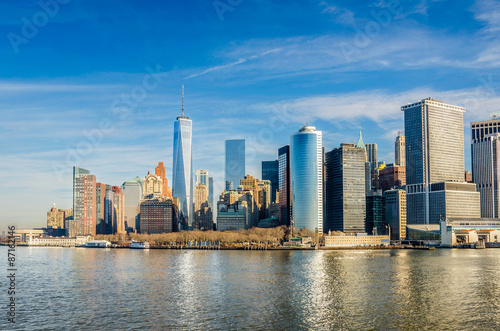 Aluminium Manhattan Skyline and Reflection in Water on a Winter Morning