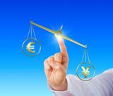 Yen Sign Outweighing The Euro On A Golden Scale poster