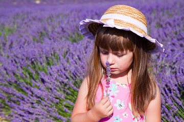 beautiful girl in lavender fields in Provence