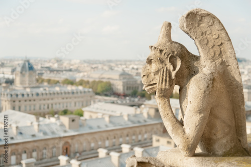 Guardian demon, famous chimera of Notre Dame de Paris Photo by Natalia Bratslavsky
