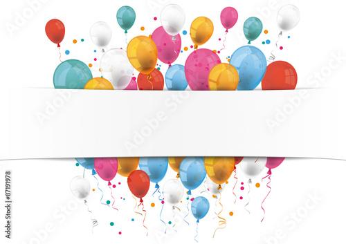 Zdjęcia na płótnie, fototapety, obrazy : White Paper Banner Balloons