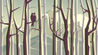 Horizontal illustration of cartoon forest with mountains.