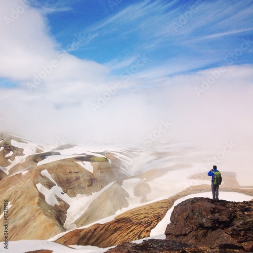 hiker on top of the mountain in Iceland