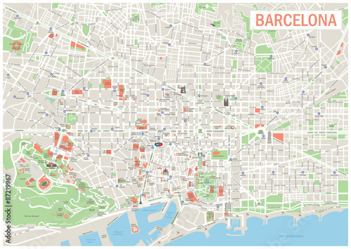 Barcelona Map. Highly detailed vector map of Barcelona. It's includes streets, parks, names of subdistricts, points of interests.