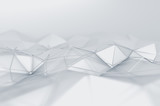 Fototapety Abstract 3D Rendering of Low Poly White Surface.