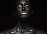Fototapety fashion portrait of a dark-skinned girl with color make-up