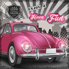 veteran classic small pink car