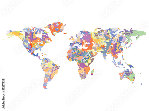 Fototapeta Watercolor map of the world, vector illustration