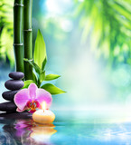 spa still life - candle and stone with bamboo in nature on water