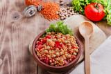 Fototapeta chickpea dish orange lentil and tomato