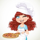 Cute curly hair girl chef offers a taste of pizza isolated on white background