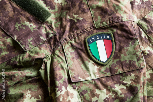 Stemma dell'Italia su divisa mimetica vegetata Poster