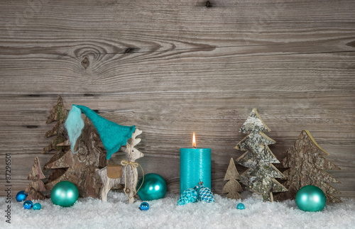 fototapeta weihnachtliche dekoration in den farben grau braun wei und t rkis mit kerze und. Black Bedroom Furniture Sets. Home Design Ideas
