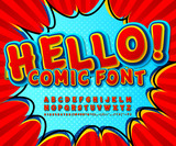 Fototapety Creative high detail comic red font, explosion. Alphabet