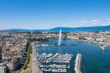 Aerial view of Leman lake -  Geneva city in Switzerland - Fine Art prints