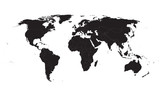 Fototapety black vector world map with all country borders